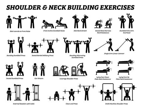 Ejercicio de construcción de hombros y cuello y pictogramas de figuras de palo de construcción de músculos. Conjunto de ejercicios de repeticiones de entrenamiento con pesas para hombros y cuello mediante máquinas herramientas de gimnasio con instrucciones y pasos.