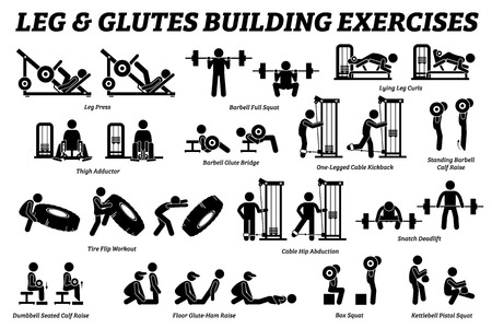 Legs and glutes building exercise and muscle building stick figure pictograms. Artworks depict set of weight training reps workout for legs and glutes by gym machine tools with instructions and steps.