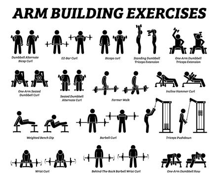 Ejercicios de construcción de brazos y pictogramas de figuras de palo de construcción de músculos. Las obras de arte representan un conjunto de ejercicios de repeticiones de entrenamiento con pesas para el músculo de la mano del brazo mediante una máquina y herramientas de gimnasio con instrucciones paso a paso.