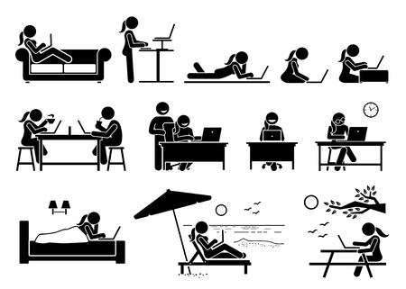 Mujer que usa la computadora en diferentes posturas, poses y lugares. La obra de arte muestra a una niña que usa una computadora portátil para acceder y navegar por Internet en el hogar, la oficina, la cafetería, el dormitorio, la playa y el parque al aire libre.