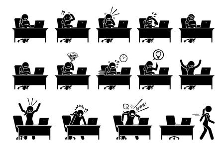 Mädchen, das Computer mit verschiedenen Posen, Aktionen, Gefühlen und Emotionen verwendet. Kunstwerke zeigen Frauen, die mit einem Laptop an einem Schreibtisch arbeiten, mit unterschiedlichen Reaktionen.