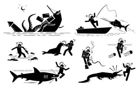 Los animales marinos y las criaturas submarinas atacan los símbolos de los signos de los iconos humanos. Las ilustraciones muestran calamares gigantes, peces vela, peces, leones marinos, serpientes marinas, medusas de caja, tiburones y cocodrilos atacando a las personas.