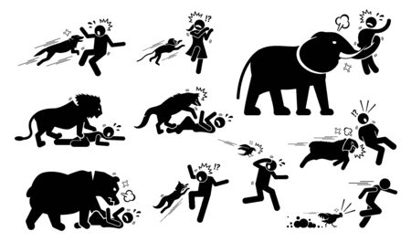 Animals attack human icons signs symbol. Illustrations depict angry and violent dog, monkey, elephant, lion, wolf, bear, fox, bird, sheep, and chicken attack people when the animals felt threatened. Reklamní fotografie - 126247749