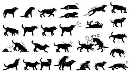 Dog actions, reactions, postures, and body languages. Illustrations depict dog standing, walking, running, jumping, eating, barking, and digging hole. It also depict dog sniffing and mating.