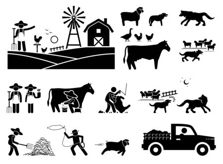 Traditional farmer lifestyle at barn. Stick figure illustrations depict farmer, animals, cow milking, sheepdog, herding, sheep, wolf, shearing, and haystack.