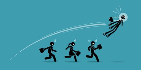 Businessman turns into frog and jump over all his competitors in one leap. Vector artwork concept depicts business leapfrog, overtake, advancement, success innovation, breakthrough, and winning.