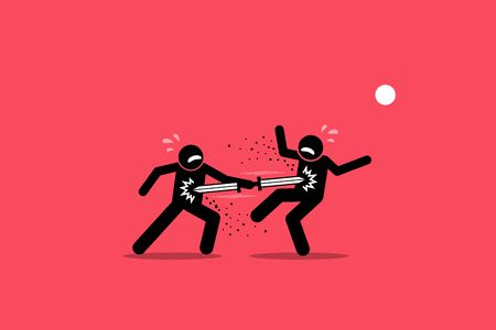 Double edged sword concept. Vector artwork depict a stick figure man stab his enemy with a double ended sword, but also stabbing himself during the attack. A concept of good and bad consequences.