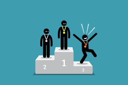 The stick figure person in third place is happier than the people in the first and second place. Vector artwork concept depicts state of mind, happiness, choose to be happy, positive,  and grateful.