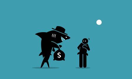 Lo strozzino e un uomo povero. La grafica vettoriale raffigura uno strozzino che cerca di prestare denaro a una persona che ha difficoltà finanziarie. L'uomo esita e non sa se vuole prendere in prestito il denaro. Vettoriali