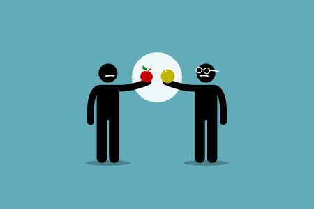 Comparing apple with orange. Vector artwork of two different man holding an apple and orange, and start to compare them to each other. Concept of difference, incomparable, impractical, and pointless. Ilustração