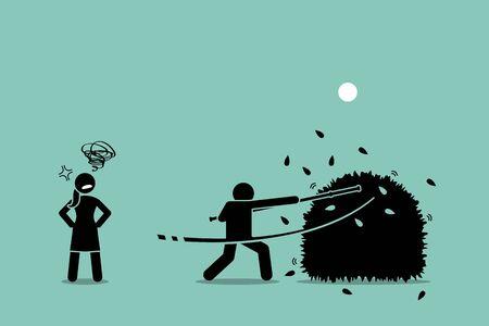 Deja de andar por los arbustos. Ilustraciones vectoriales de un hombre que usa un palo para dar vueltas entre los arbustos mientras la mujer se molesta con él por no ser directo de lo que realmente quería.
