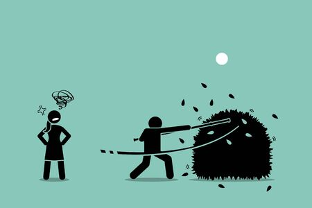 Stop beating around the bushes. Vector artwork of a man using a stick to beat around the bushes while the woman gets annoyed by him for failing to be straight forward of what he actually wanted.