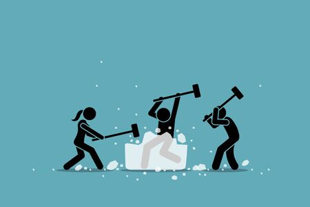 Aktywność, gra i wydarzenie związane z łamaniem lodu lub lodołamaczem. Grafika wektorowa grupy ludzi używających młota do łamania dużego lodu. Koncepcja poznania każdego członka i rozgrzewki przed spotkaniem uczestników. Ilustracje wektorowe