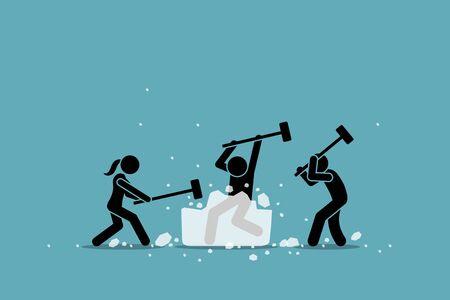 Attività, gioco ed evento rompighiaccio o rompighiaccio. Grafica vettoriale di un gruppo di persone che usano la mazza per rompere un grande ghiaccio. Concetto di conoscere ogni membro e riscaldarsi per la riunione dei partecipanti. Vettoriali