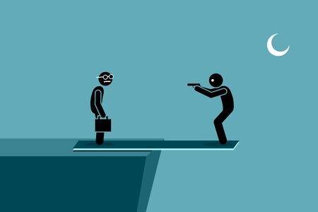 Harming other people and self harm at the same time. Man try to kill another person while standing on a plank outside the ledge of a hill. If the other person dies, he will die too by falling down.  Ilustração