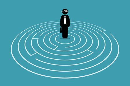 Businessman standing in the center of a maze. Vector artwork concept depicts challenge, finding the way out, escape, hurdles, solving issue, and solution for problem.
