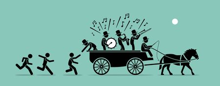 Jump on the bandwagon. Vector artwork concept depicts people and followers chasing, joining, and jumping into a bandwagon because it is popular, famous, and trendy.  Illustration