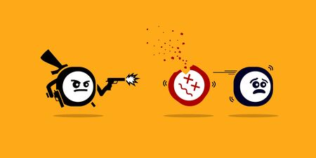 Killer app killing other mobile apps by shooting them with gun. Vector concept artwork depicts new technology that is superior and better over competitors and rivals software product. Ilustracja