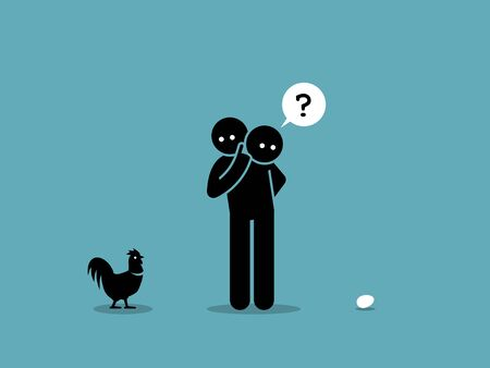 Chicken or Egg. Who come first argument. Vector artwork showing a man looking at both a chicken and an egg and wondering which came first. Stock Illustratie