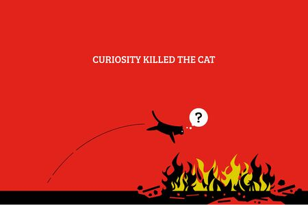 Curiosity kills the cat. Vector artwork showing a cat jump into a fire and killing itself because it is curious and want to know what fire is. Stock fotó - 129754419