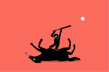 Don't beat a dead horse. Vector artwork showing a man beating an already dead horse with a stick. Concept of waste of time, no result, useless, and impossible. Illustration