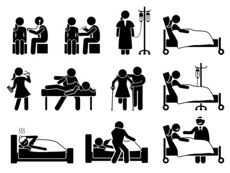 Sick, illness and injury treatment, medication, and rehabilitation for woman at hospital and home. Stick figures depict female body checkup, hospital patient, IV drip, injection, and physiotherapy.