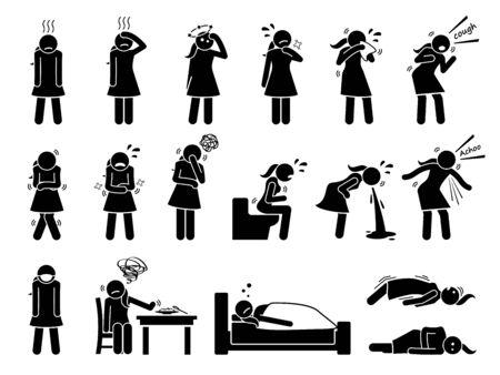 Mujer enferma, enferma, con gripe, enfermedad y signos y síntomas del virus de la influenza. Los iconos de pictogramas de figura de palo representan a una mujer que tiene resfriado, fiebre, mareos, dolor de garganta, tos, escalofríos, vómitos y convulsiones.