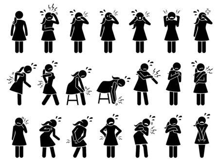 Mujer que tiene dolores y molestias en diferentes partes del cuerpo. Los íconos de pictogramas de figura de palo representan a una niña con dolor, lesiones, dolores musculares, dolor, tensión, malestar, problemas de columna y problemas de columna.