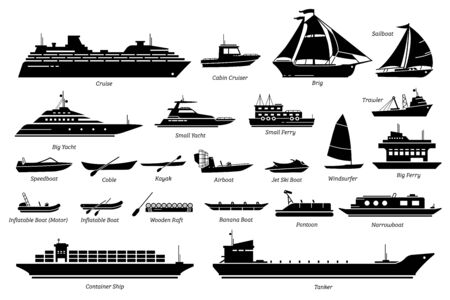 List of different type of water transportation, ships, and boats icon set.