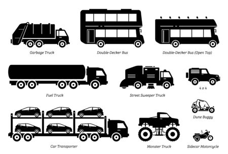 List of special purpose vehicles icon set. Side view artwork Illustration