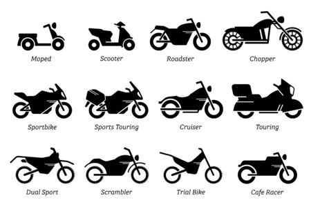List of different type of motorcycle, bike, and motorbike icon set. Side view of all kind of motorcycle 일러스트