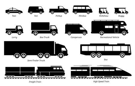 List of commercial landed vehicles transportation icons. Illustrations artwork depict land transport for commercial work. Ilustração Vetorial