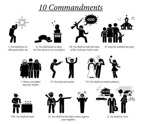 Los iconos y el pictograma de los 10 mandamientos. La ilustración muestra la enseñanza de los Diez Mandamientos, las creencias y el valor moral de la religión cristiana de Dios.