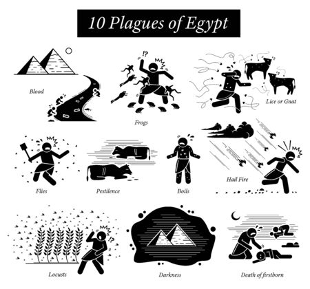 The Ten Plagues of Egypt icons and pictogram. Moses God punishments