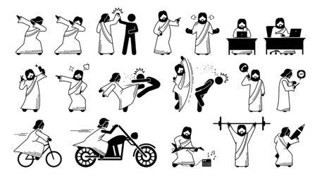 Illustrations drôles de Jésus-Christ, bonhomme allumette et icônes. Le pictogramme représente un dessin animé humoristique de Jésus-Christ avec des tampons, un high five, à l'aide d'un ordinateur, d'un selfie, d'une attaque, d'une application téléphonique et d'un vélo.