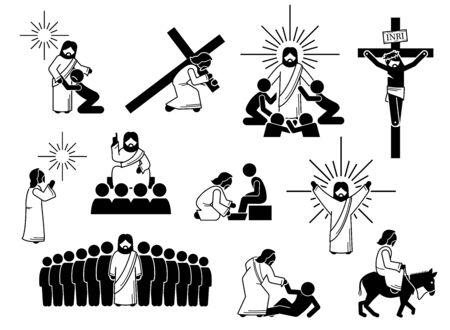Figura stilizzata di Gesù Cristo, icone e pittogramma. Illustrazioni di Gesù Cristo con persone, croce, crocifissione, preghiera, adorazione, sacrificio, insegnamento ai discepoli e amore. Vettoriali