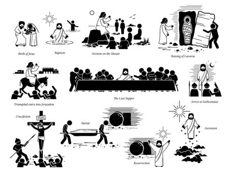 Life of Jesus Christ and important key events. Artwork of birth of Jesus, baptism, sermon on the mount, raising Lazarus, entry to Jerusalem, the last supper, crucifixion, resurrection, and ascension.
