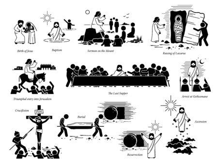 Vita di Gesù Cristo e importanti eventi chiave. Opera d'arte della nascita di Gesù, battesimo, discorso della montagna, resurrezione di Lazzaro, ingresso a Gerusalemme, ultima cena, crocifissione, risurrezione e ascensione.