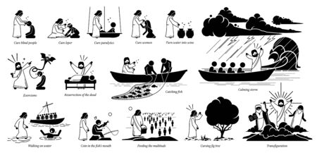 Miracles of Jesus Christ icons pictogram. Stick figure of Jesus Christ curing blind, woman, turning water to wine, exorcism, resurrection, catch fish, walking on water, feeding, and transfiguration. Vettoriali