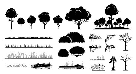 Tree, plants, and grass vector graphic design. A set of tree, foliage, grass, forest, flower, bushes, branches, and vines in black silhouette style.