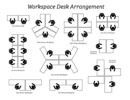 Aranżacja biurka w biurze i firmie. Ikony piktogramów przedstawiają widok z góry rozmieszczenia stołów i miejsc siedzących dla pracowników biurowych, personelu i pracowników.