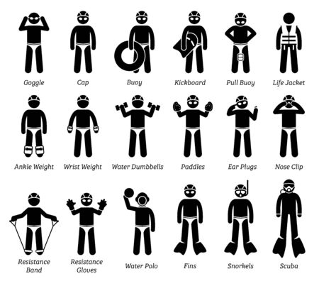 Swimming gears and equipment stick figure icons pictogram. Artwork and illustration for a list of training gears, tools, accessories, and equipment for swimmers.