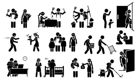 House husband and working wife family lifestyle with children stick figure pictogram icons. Vector illustrations depict a househusband on household duty, while the wife going out work to earn money.
