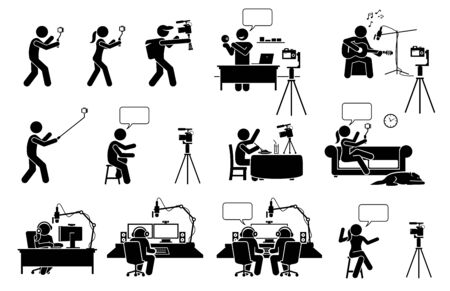 Video blog, vlog, podcast, and live streaming stick figure pictogram icons. Vector illustrations depict people self video recording with camera to create Internet online content for social media.