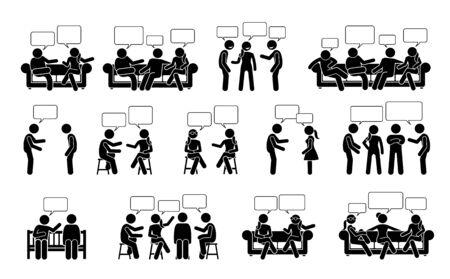 Ludzie rozmawiają i komunikują się ze sobą ikony piktogramów stick figure. Ilustracje wektorowe przedstawiają ludzi lub przyjaciół rozmawiających i rozmawiających ze sobą w pozycji siedzącej i stojącej. Ilustracje wektorowe