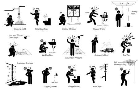 Problema de fugas de agua y problemas de plomería en la construcción de viviendas. Ilustraciones vectoriales de diferentes tipos de listas de problemas de plomería en tuberías, inodoros, grifos, fregaderos, techos, pisos, alcantarillado, desagües y más.