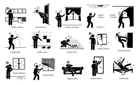 House defects issues and structural problems stick figure pictogram icons. Vector illustrations of a person unhappy and angry about home defects, spoiled structures, and broken furnitures.