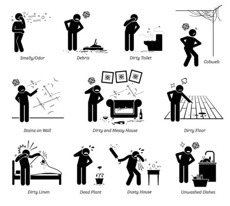 Dirty and messy house stick figure pictogram icons. Vector illustration of a person complaining about a poorly maintained house that is old, dirty, and messy.