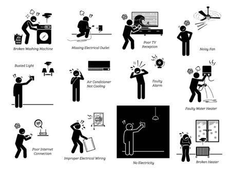 Electrical home appliances problems at house stick figure pictogram icons. Vector illustrations depict broken, defective, spoil, problematic, and issue with electrical home appliances.