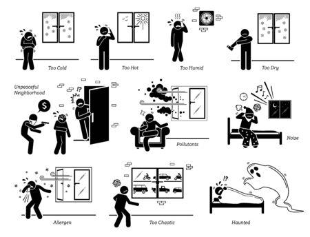 Problemas del entorno del hogar y problemas circundantes. Las ilustraciones vectoriales representan a personas que enfrentan problemas con las condiciones climáticas y el entorno del vecindario circundante. Ilustración de vector